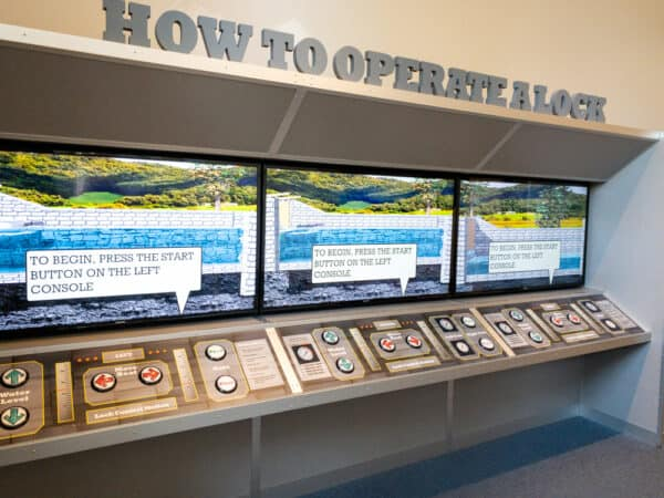 How to Operate a Lock display at the Erie Canal Discovery Center in Niagara County New York