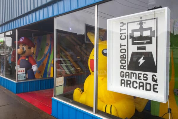 The entrance to Robot City Games and Arcade in Binghamton NY