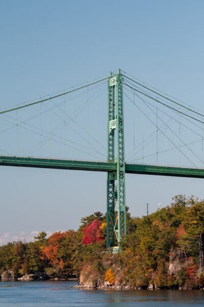 Thousand Islands Bridge as seen from the St Lawrence River in Canada.