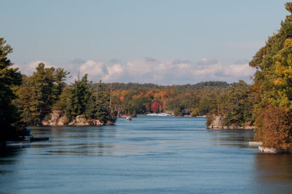 St. Lawrence River passing through islands as seen on the Two Nation Tour with Uncle Same Boat Tours