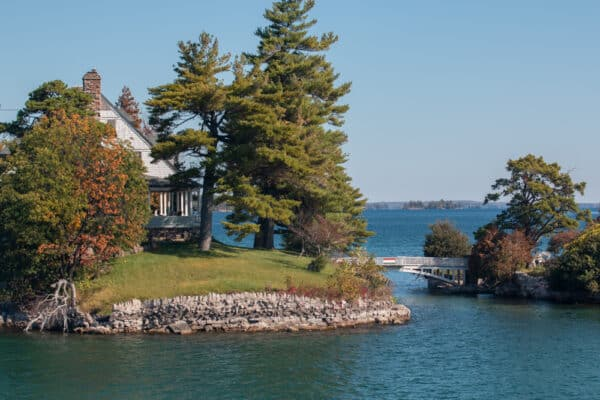 Two islands in the middle of the St. Lawrence River as seen from Uncle Sam Boat tours