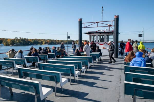 Upper deck of a Uncle Sam Boat Tours boat in Alexandria Bay New York