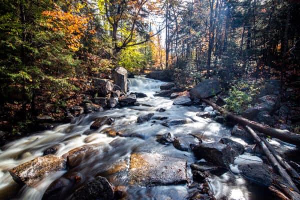 Looking upstream at Whiskey Brook Falls in Hamilton County NY