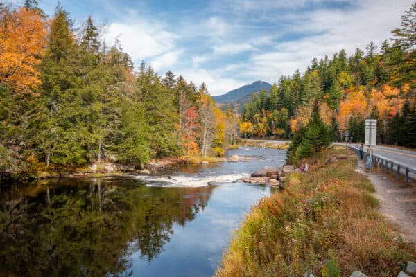 Stream and fall foliage in the Adirondacks along Route 86