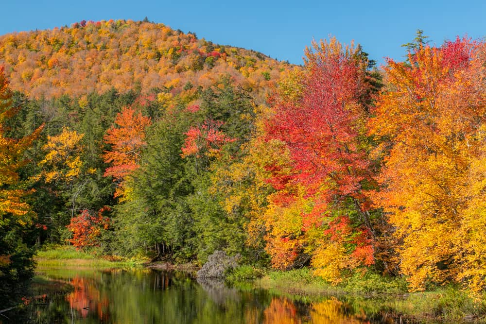 Colorful trees and mountains on Indian Lake in the Adirondack Park