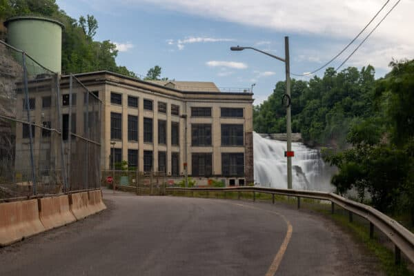 Lower Falls from deep in the Genesee River Gorge in Rochester NY