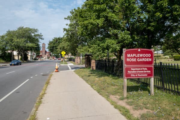 Sign for Maplewood Park in Rochester New York