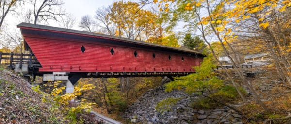 A panoramic image of Newfield Covered Bridge near Ithaca NY