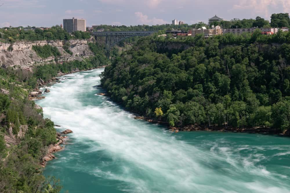 The Niagara River flowing through Whirlpool State Park in Niagara Falls New York