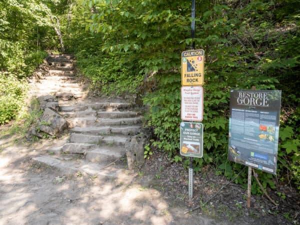 Whirlpool Trail at the base of the Niagara River Gorge in Niagara Falls NY